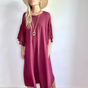 Oversized Burgundy/Red Ruffle Sleeve Dress 2X